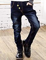 Boy's Cotton Spring/Autumn Fashion Applique Embroider Elasticity Denim Jeans