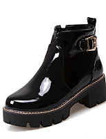 Women's Boots Winter Bootie / Round Toe Patent Leather Dress Chunky Heel Buckle / Zipper Black / Red Others