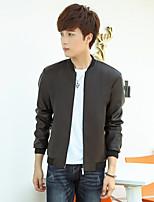 Men's Long Sleeve Casual / Sport Jacket,PU Solid Black / Blue / Brown