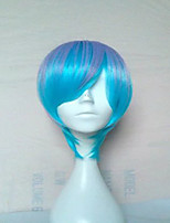 Capless Blonde Cosplay Wig  Long Straight Synthetic Hair Wig Blue Purple Bown 4 Colors