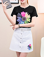Women's Casual/Daily Simple Summer T-shirt Skirt,Floral Round Neck Short Sleeve Red / White / Green Cotton Medium