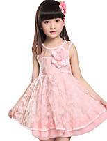 Girl's Casual/Daily Solid DressCotton Summer Pink / Yellow