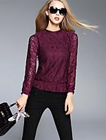 BOMOVO® Femme Col Ras du Cou Manche Longues T-shirt Bourgogne-B16QA98