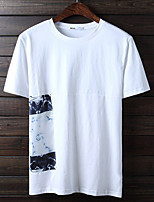 Men's Print Casual T-ShirtCotton Short Sleeve-Black / White