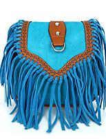Women Casual Outdoor Saddle Scrub Tassel Color Stitching Shoulder Travel Bag