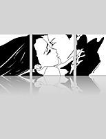 lienzo conjunto Paisaje / Personas Modern,Tres Paneles Lienzos Cuadrado lámina Decoración de pared For Decoración hogareña