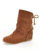 Women's Boots Spring / Fall Wedges / Fashion Boots Leatherette Outdoor / Casual Wedge Heel Lace-upBlack / Brown