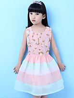 Girl's Going out Floral Dress,Polyester Summer Pink
