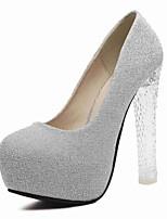 Damen-High Heels-Büro / Lässig-Kunststoff-Blockabsatz-Absätze / Rundeschuh-Lila / Silber