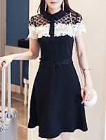 Women's Plus Size / Going out /  A Line Dress,Patchwork Square Neck Knee-length Short Sleeve Black Polyester Summer