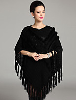 Women's Plus Size Vintage Long Cloak / Capes,Solid Black Round Neck Long Sleeve Wool / Acrylic Spring / Fall Medium