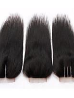8A 4*4 Lace Closure 100% Malaysian Baby Virgin Human Hair Silk Straight Natural Black