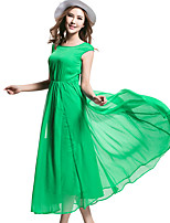 BORME® Women's Round Neck Sleeveless Solid Color Tea-length Dress-Y008