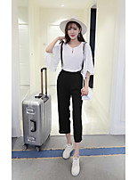 Women's Going out / Cute Summer Blouse Pant,Solid Round Neck ½ Length Sleeve White / Black Others Medium