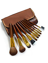 10 Makeup Brushes Set Horse Portable Wood Face ShangYang(Brush Package)