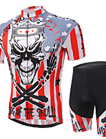 Men's Cycling Clothing Sets New Fashion Skeleton King Pattern Bicycle Sports Comfortable Short Cycling Jersey 1 Set