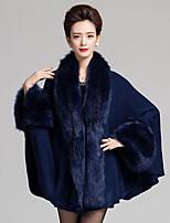 Women's Party/Cocktail Plus Size / Vintage Cardigan,Patchwork Blue / Red / Beige / Black / Purple Wool / AcrylicSpring