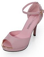 Damen-High Heels-Kleid-Kunstleder-Stöckelabsatz-Absätze-Rosa / Weiß