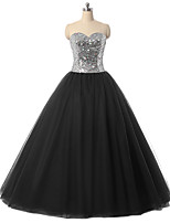 Formal Evening Dress Ball Gown Sweetheart Floor-length Tulle with Crystal Detailing / Sequins