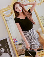 Boutique S Women's Casual/Daily Street chic Summer Set Skirt,Houndstooth V Neck Short Sleeve Cotton / Polyester Thin