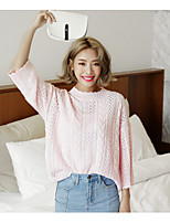 Women's Going out Cute Regular Pullover,Solid Pink Round Neck Long Sleeve Cotton / Polyester Spring / Summer Medium Micro-elastic