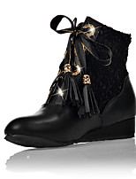 Women's Boots Spring / Fall / Winter Wedges / Fashion Boots Leatherette Outdoor / Casual Wedge Heel Lace-upBlack / Red