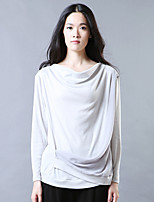 YI SHI DIAN Women's Going out Cute Spring / Fall T-shirt,Solid Cowl Long Sleeve Gray Rayon Thin