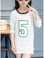 Girl's Casual/Daily Striped Tee,Cotton Summer Black / White