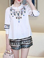 Women's Casual/Daily Simple Spring / Summer Set,Embroidered Stand ¾ Sleeve White Cotton Medium
