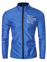 Мужской Хлопок / Полиэстер Куртка На каждый день / Для занятий спортом,Буквы,Длинный рукав,Черный / Синий / Красный / Белый