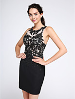 TS Couture® Cocktail Party Dress Sheath / Column Jewel Short / Mini Chiffon / Tulle with Appliques / Sequins