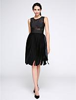 TS Couture® Cocktailparty Kleid A-Linie Schmuck Knie-Länge Spitze / Samt mit Spitze
