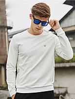 WILSHEMON® Men's Round Neck Long Sleeve T Shirt Black / White-WS16C1520