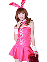 Costumes Bunny Girls Halloween / Christmas / Carnival Pink Vintage Dress / Bracelet / Tie / Headwear