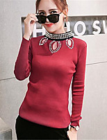 Women's Going out / Casual/Daily Cute / Street chic Regular Pullover,Solid Red Round Neck Long Sleeve Cotton Fall Medium