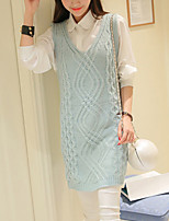 Women's Going out / Casual/Daily Simple / Street chic Long Vest,Solid Blue Strap Sleeveless Acrylic Spring