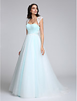 A-line Wedding Dress Sweep / Brush Train Sweetheart Tulle with Appliques / Sequin