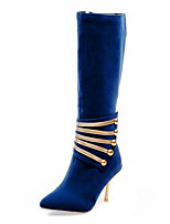 Women's Shoes Winter Fashion Boots / Pointed Toe Boots Party & Evening / Dress Stiletto Heel Zipper Black / Blue / Red