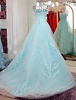 Ball Gown Wedding Dress Court Train Strapless Lace / Satin / Tulle with Appliques / Lace