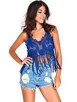 Women's Apricot Lacy Crochet Cropped Vest Top