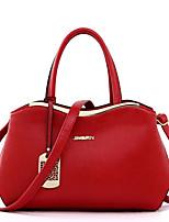 Women PU Casual Shoulder Bag Tote Black Beige Red Blue