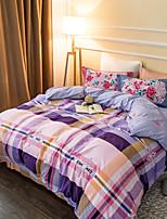 Purple plaid 800TC bedding sets Queen King size Bedlinen printing sheets pillowcases Duvet cover sanding Cotton Fabric