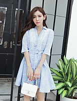 Women's Going out  / Cute Sheath Dress,Solid / Striped Shirt Collar Above Knee ½ Length Sleeve Blue