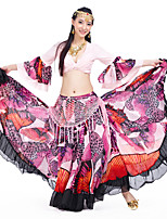 Belly Dance Bottoms Women's Performance Polyester Pattern/Print 1 Piece Pink / Red Belly Dance Sleeveless Dropped Skirt
