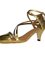 Non Customizable Women's Dance Shoes Leatherette Leatherette Modern / Swing Shoes Heels Chunky Heel Beginner / Gold