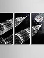 Moderno/Contemporaneo Altro Orologio da parete,Rettangolare Tela 30 x 60cm(12inchx24inch)x3pcs/ 40 x 80cm(16inchx32inch)x3pcs Al Coperto