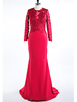 Formal Evening Dress Trumpet / Mermaid Jewel Sweep / Brush Train Satin with Appliques
