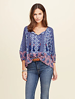 Women's Casual/Daily Street chic Summer Blouse,Print V Neck ¾ Sleeve Blue Cotton / Linen Thin