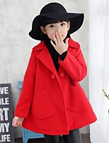 Girl's Casual/Daily Solid Dress / Down & Cotton Padded,Cotton / Rayon Winter / Spring / Fall Red / Yellow