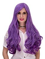 roxo do inclinação longo encaracolado lolita cabelo wig.wig, peruca dia das bruxas, peruca cor, peruca de moda, peruca natural, cosplay